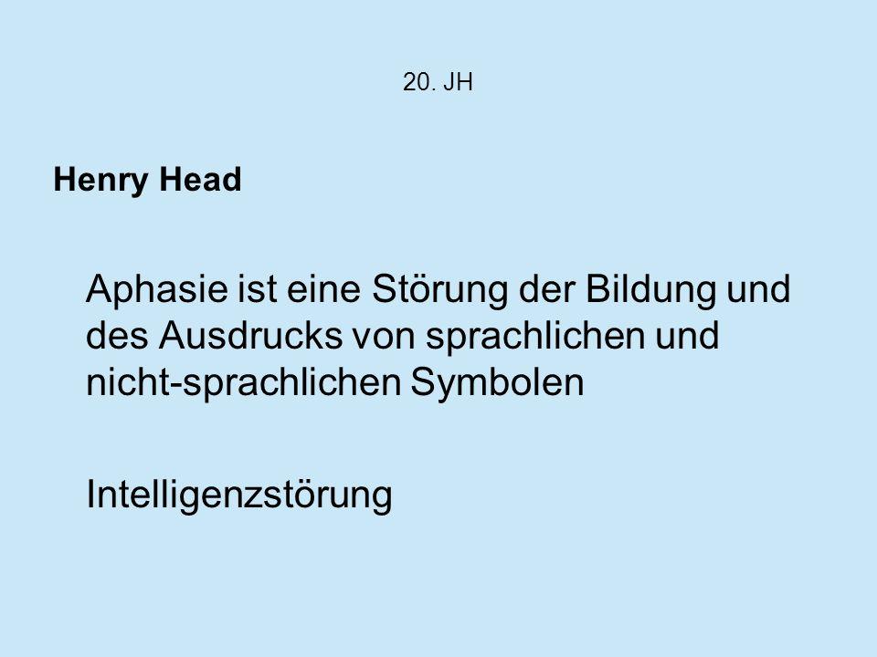 20. JH Henry Head Aphasie ist eine Störung der Bildung und des Ausdrucks von sprachlichen und nicht-sprachlichen Symbolen Intelligenzstörung