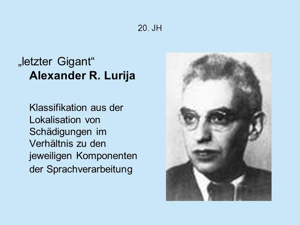 20. JH letzter Gigant Alexander R. Lurija Klassifikation aus der Lokalisation von Schädigungen im Verhältnis zu den jeweiligen Komponenten der Sprachv