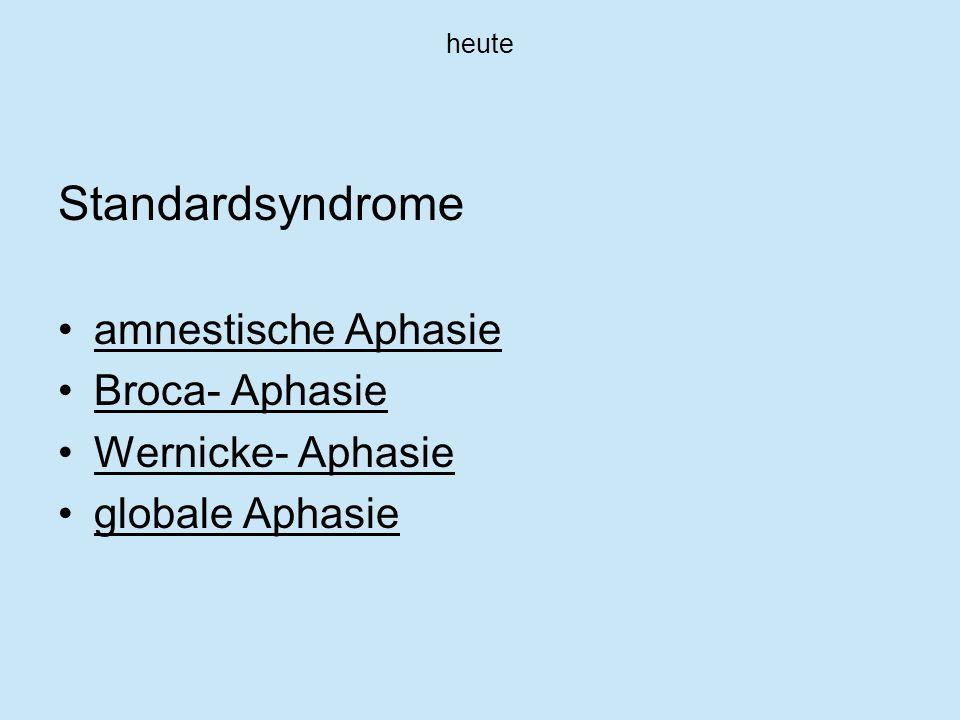 heute Nichtstandardsyndrome Leitungsaphasie transkortikal- motorische Aphasie transkortikal- sensorische Aphasie gemischte transkortikale Aphasie