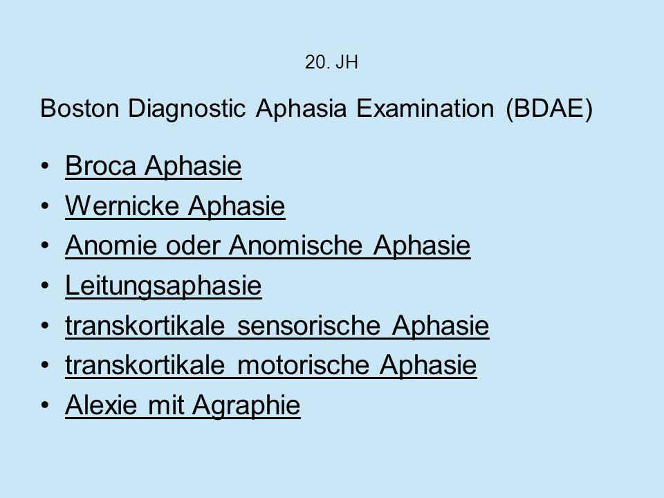 20. JH Boston Diagnostic Aphasia Examination (BDAE) Broca Aphasie Wernicke Aphasie Anomie oder Anomische Aphasie Leitungsaphasie transkortikale sensor