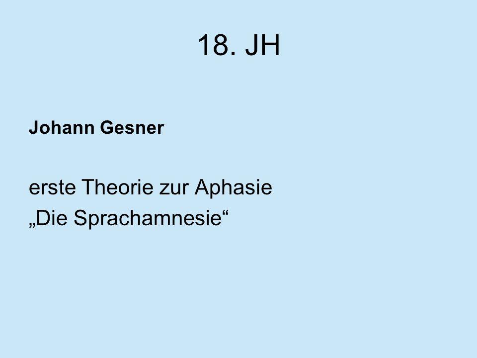 18. JH Johann Gesner erste Theorie zur Aphasie Die Sprachamnesie