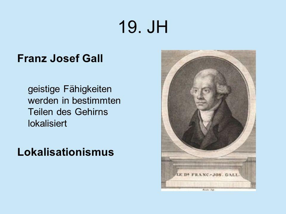 19. JH Franz Josef Gall geistige Fähigkeiten werden in bestimmten Teilen des Gehirns lokalisiert Lokalisationismus