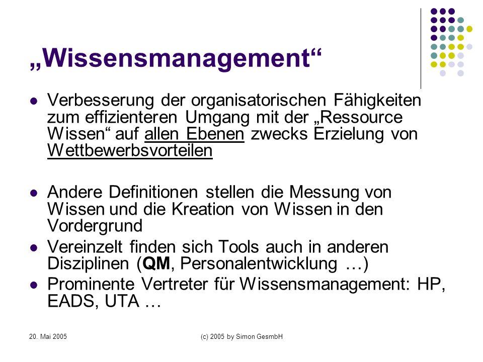 20. Mai 2005(c) 2005 by Simon GesmbH Wissensmanagement Verbesserung der organisatorischen Fähigkeiten zum effizienteren Umgang mit der Ressource Wisse