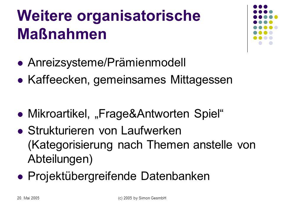 20. Mai 2005(c) 2005 by Simon GesmbH Weitere organisatorische Maßnahmen Anreizsysteme/Prämienmodell Kaffeecken, gemeinsames Mittagessen Mikroartikel,