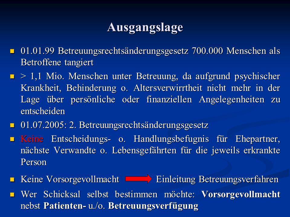Ausgangslage 01.01.99 Betreuungsrechtsänderungsgesetz 700.000 Menschen als Betroffene tangiert 01.01.99 Betreuungsrechtsänderungsgesetz 700.000 Mensch