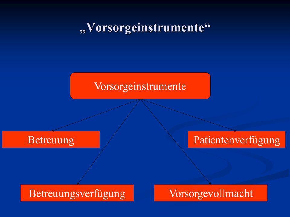 Vorsorgeinstrumente Vorsorgeinstrumente Betreuung Betreuungsverfügung Patientenverfügung Vorsorgevollmacht