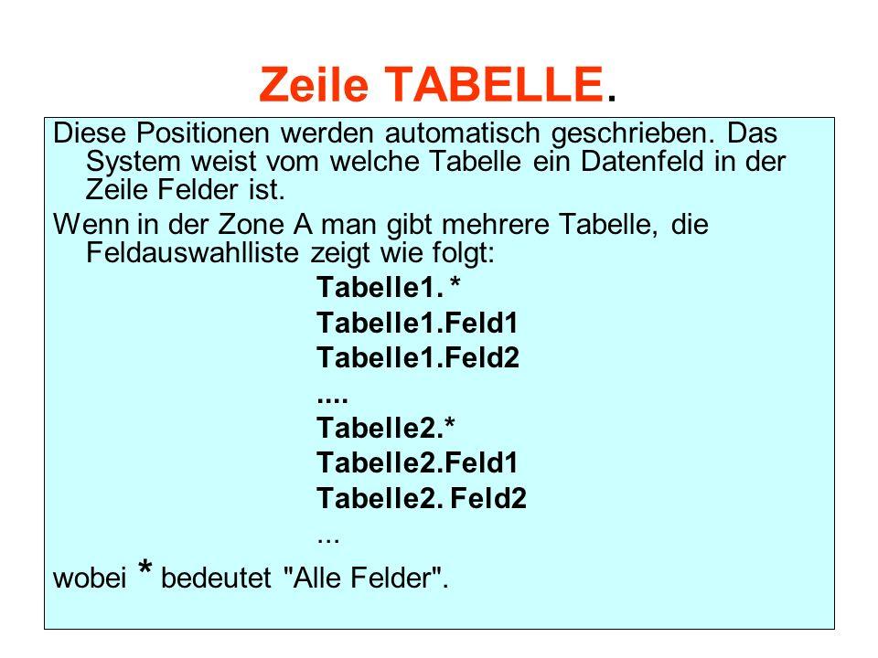 Zeile TABELLE. Diese Positionen werden automatisch geschrieben. Das System weist vom welche Tabelle ein Datenfeld in der Zeile Felder ist. Wenn in der