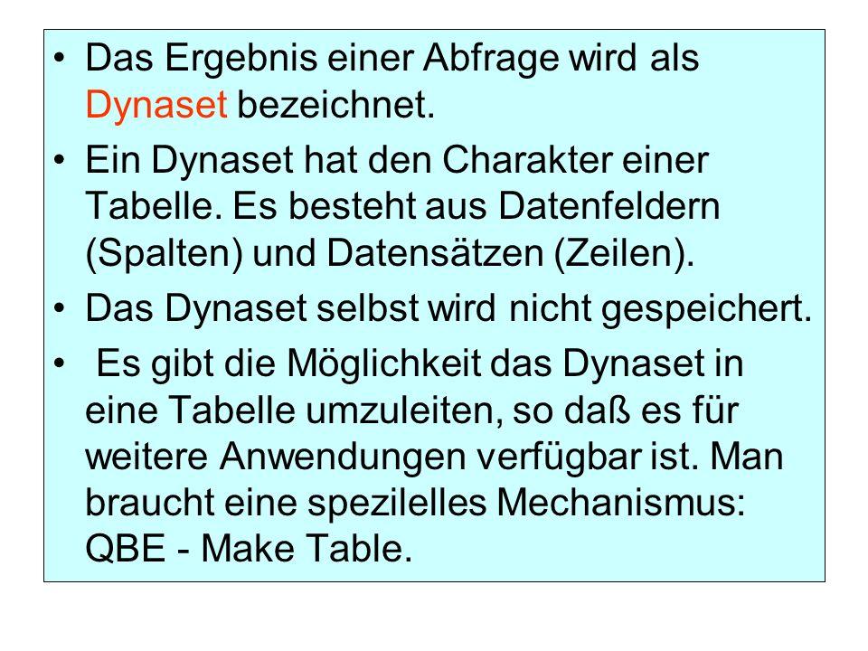 Das Ergebnis einer Abfrage wird als Dynaset bezeichnet. Ein Dynaset hat den Charakter einer Tabelle. Es besteht aus Datenfeldern (Spalten) und Datensä