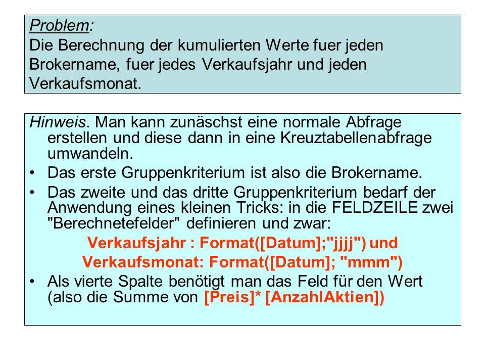 Problem: Die Berechnung der kumulierten Werte fuer jeden Brokername, fuer jedes Verkaufsjahr und jeden Verkaufsmonat.