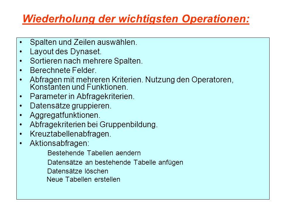 Wiederholung der wichtigsten Operationen: Spalten und Zeilen auswählen.