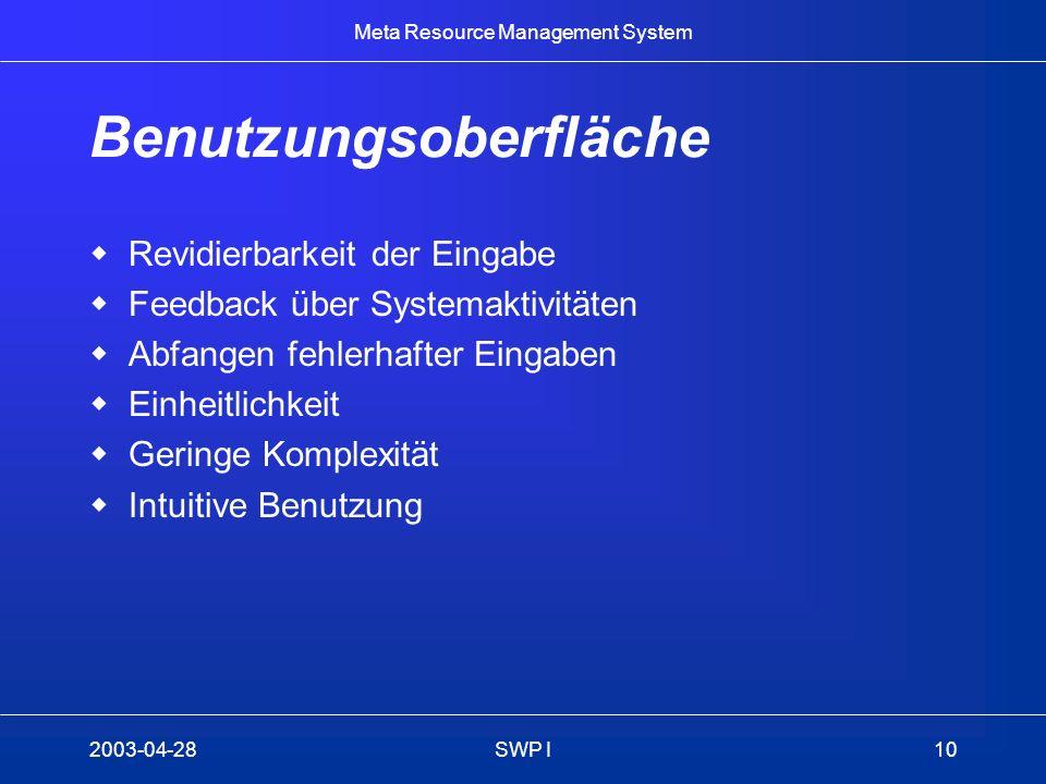Meta Resource Management System 2003-04-28SWP I10 Benutzungsoberfläche Revidierbarkeit der Eingabe Feedback über Systemaktivitäten Abfangen fehlerhaft