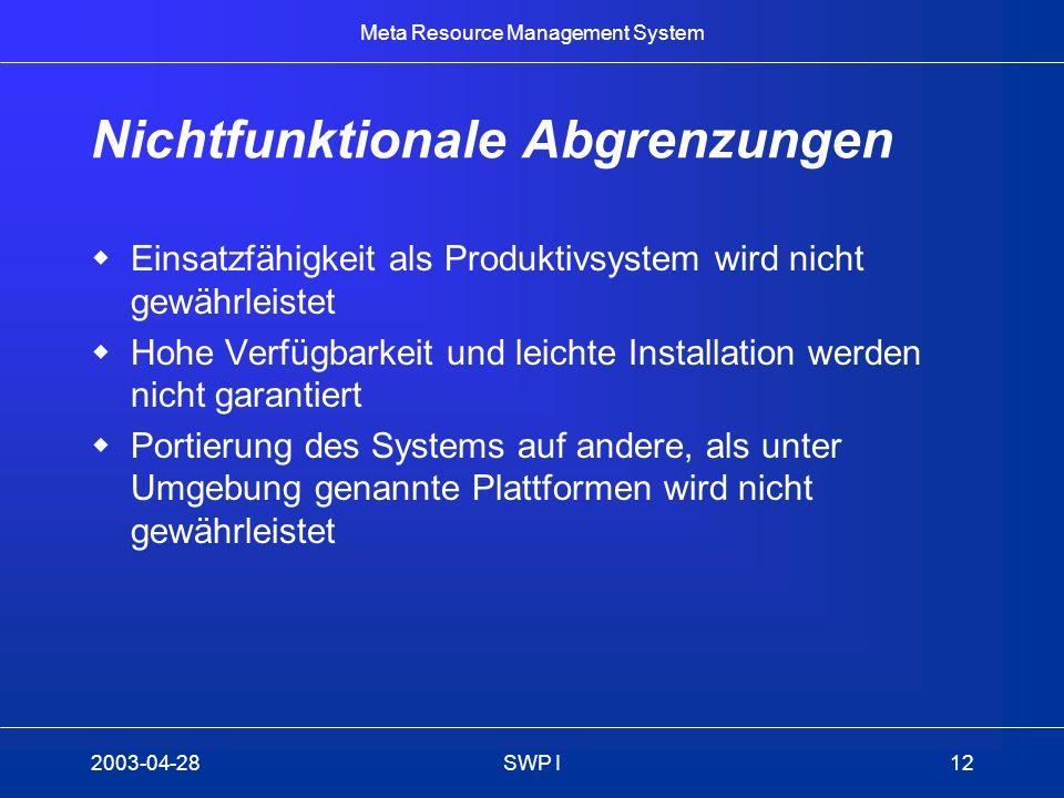 Meta Resource Management System 2003-04-28SWP I12 Nichtfunktionale Abgrenzungen Einsatzfähigkeit als Produktivsystem wird nicht gewährleistet Hohe Ver