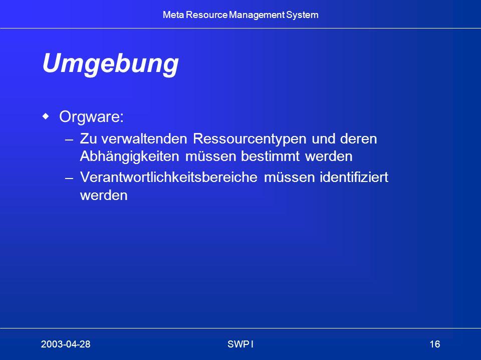 Meta Resource Management System 2003-04-28SWP I16 Umgebung Orgware: –Zu verwaltenden Ressourcentypen und deren Abhängigkeiten müssen bestimmt werden –