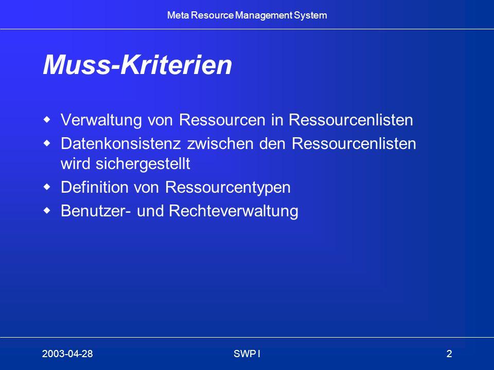 Meta Resource Management System 2003-04-28SWP I2 Muss-Kriterien Verwaltung von Ressourcen in Ressourcenlisten Datenkonsistenz zwischen den Ressourcenl