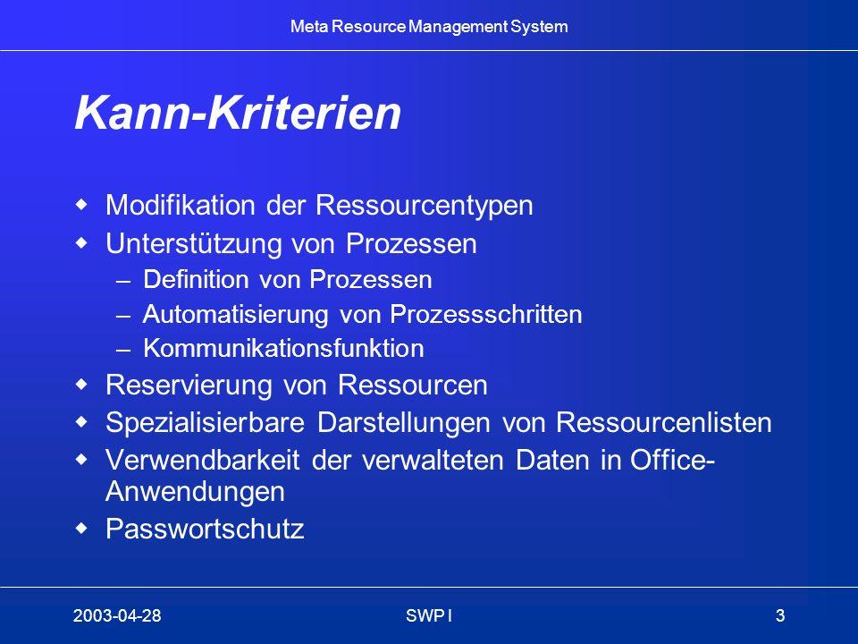 Meta Resource Management System 2003-04-28SWP I3 Kann-Kriterien Modifikation der Ressourcentypen Unterstützung von Prozessen –Definition von Prozessen