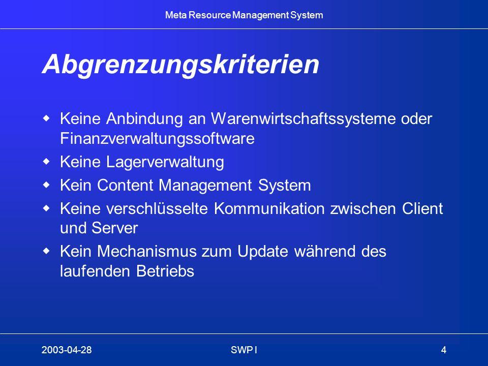 Meta Resource Management System 2003-04-28SWP I4 Abgrenzungskriterien Keine Anbindung an Warenwirtschaftssysteme oder Finanzverwaltungssoftware Keine