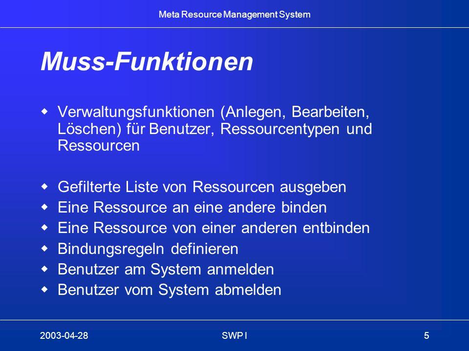 Meta Resource Management System 2003-04-28SWP I5 Muss-Funktionen Verwaltungsfunktionen (Anlegen, Bearbeiten, Löschen) für Benutzer, Ressourcentypen un