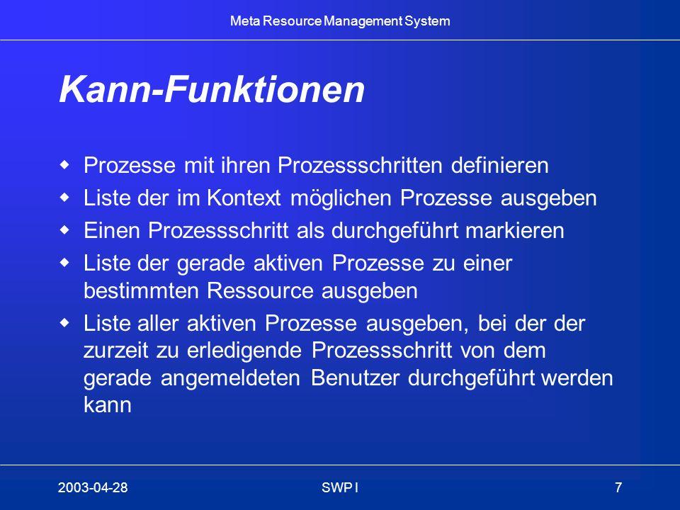 Meta Resource Management System 2003-04-28SWP I7 Kann-Funktionen Prozesse mit ihren Prozessschritten definieren Liste der im Kontext möglichen Prozess