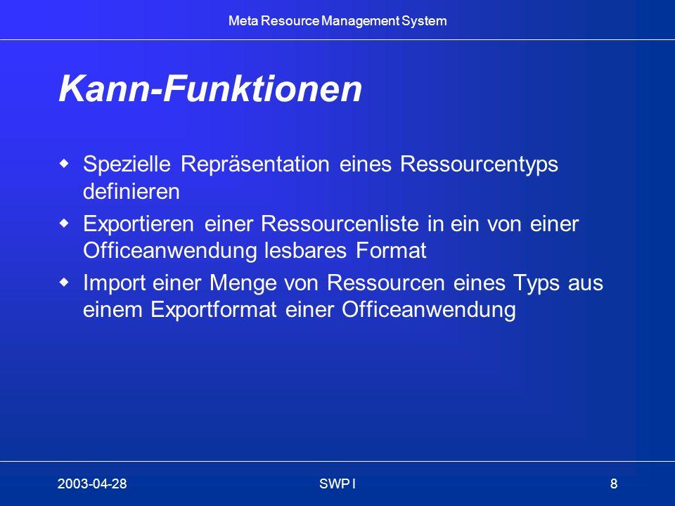 Meta Resource Management System 2003-04-28SWP I8 Kann-Funktionen Spezielle Repräsentation eines Ressourcentyps definieren Exportieren einer Ressourcen