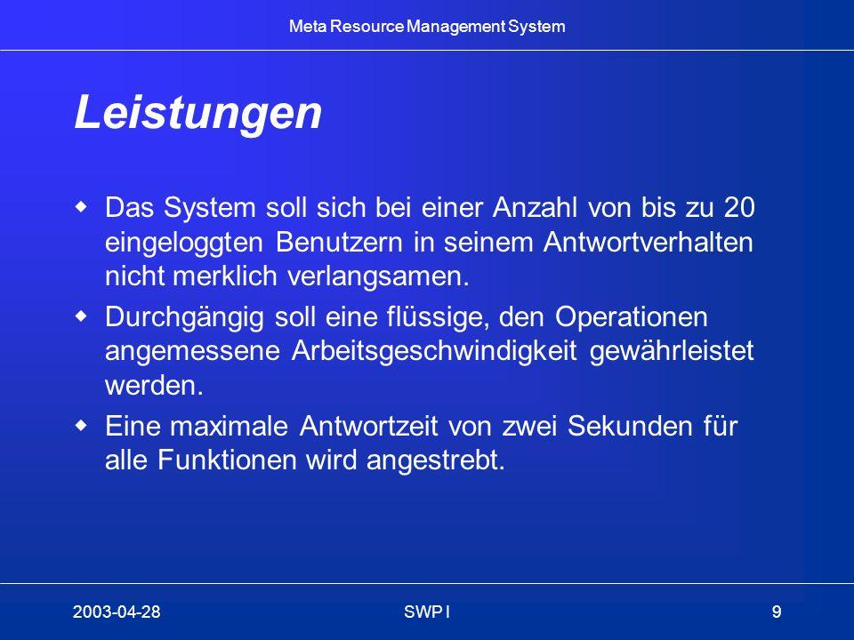 Meta Resource Management System 2003-04-28SWP I9 Leistungen Das System soll sich bei einer Anzahl von bis zu 20 eingeloggten Benutzern in seinem Antwo