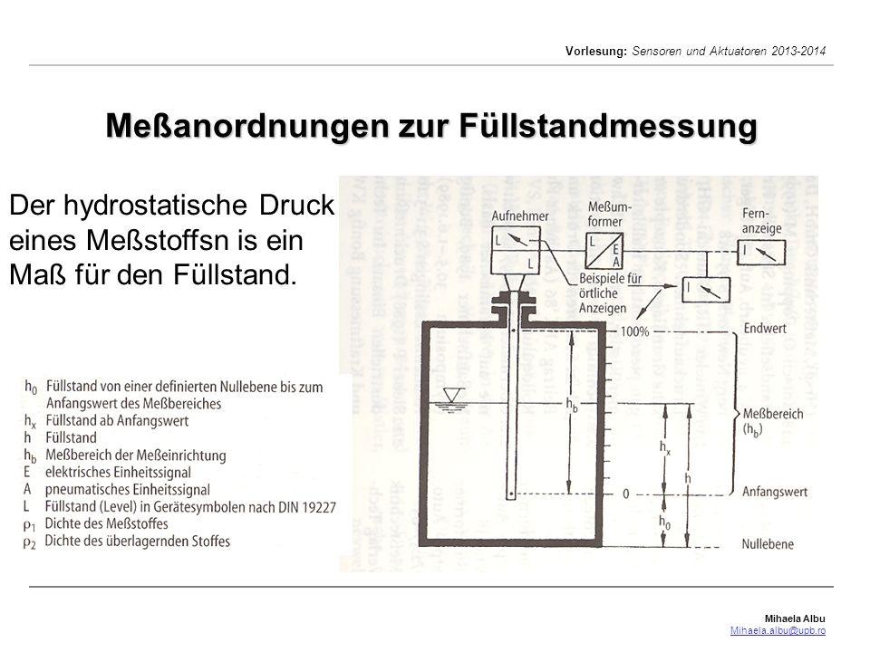 Mihaela Albu Mihaela.albu@upb.ro Vorlesung: Sensoren und Aktuatoren 2013-2014 Meßanordnungen zur Füllstandmessung Der hydrostatische Druck eines Meßst