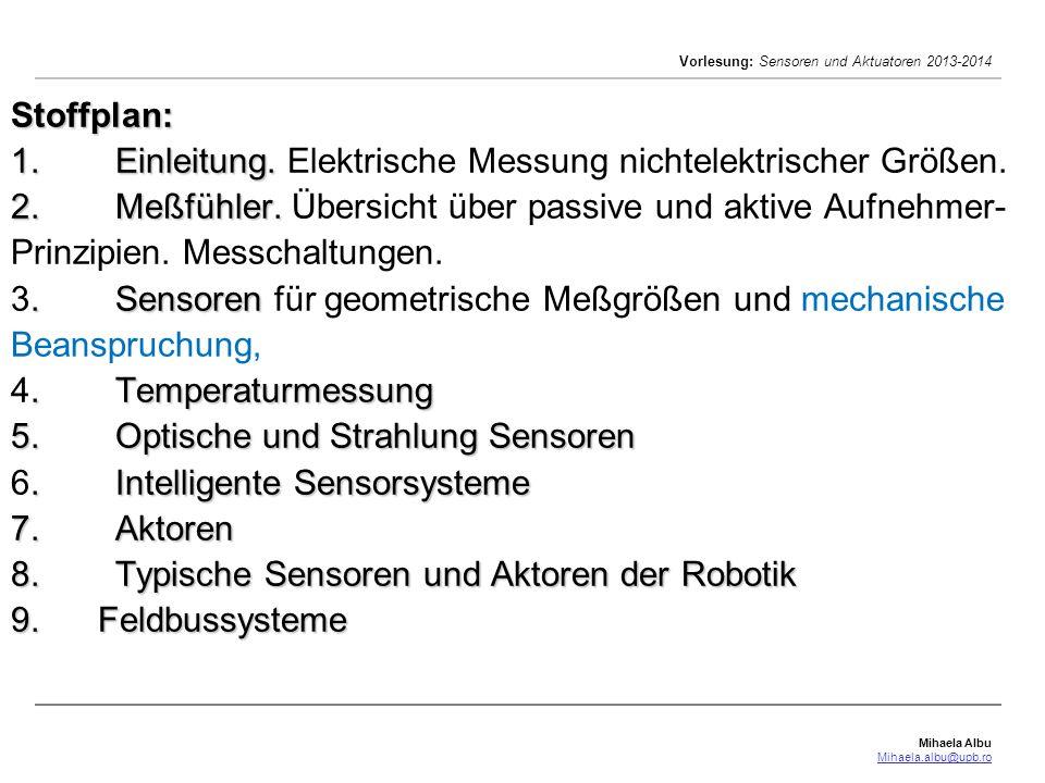 Mihaela Albu Mihaela.albu@upb.ro Vorlesung: Sensoren und Aktuatoren 2013-2014 Stoffplan: 1.Einleitung. 2.Meßfühler..Sensoren.Temperaturmessung 5.Optis