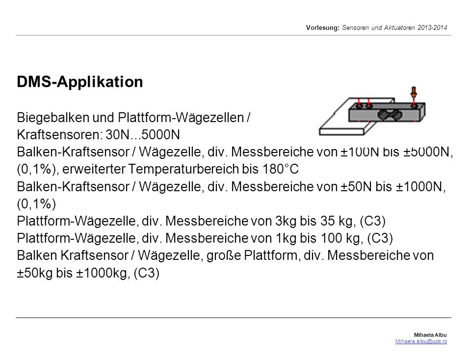 Mihaela Albu Mihaela.albu@upb.ro Vorlesung: Sensoren und Aktuatoren 2013-2014 DMS-Applikation Biegebalken und Plattform-Wägezellen / Kraftsensoren: 30