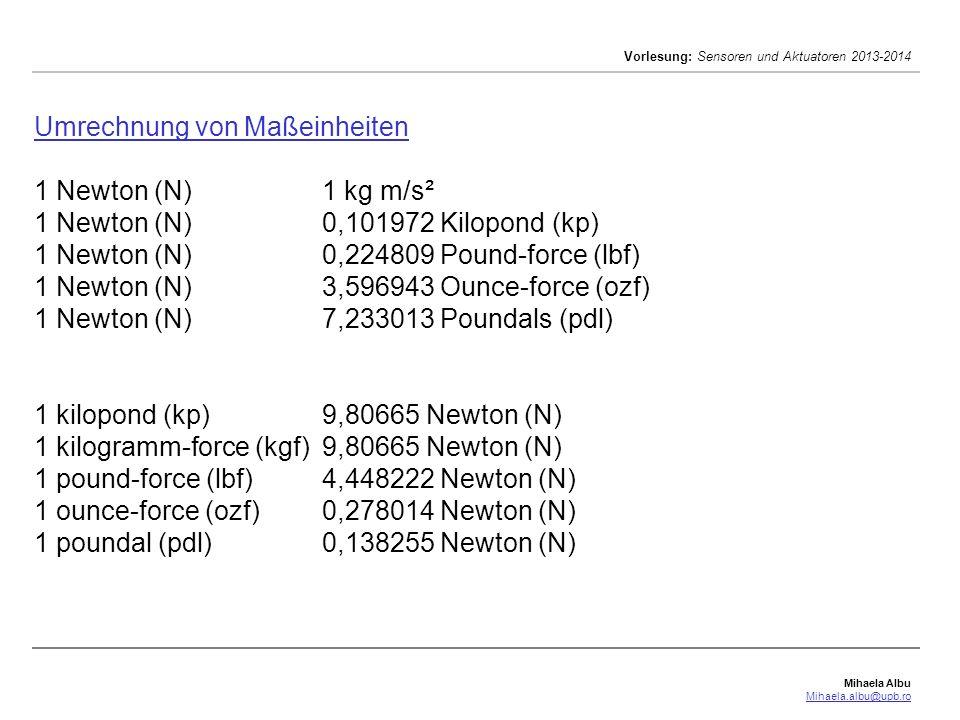 Mihaela Albu Mihaela.albu@upb.ro Vorlesung: Sensoren und Aktuatoren 2013-2014 Umrechnung von Maßeinheiten Umrechnung von Maßeinheiten 1 Newton (N)1 kg