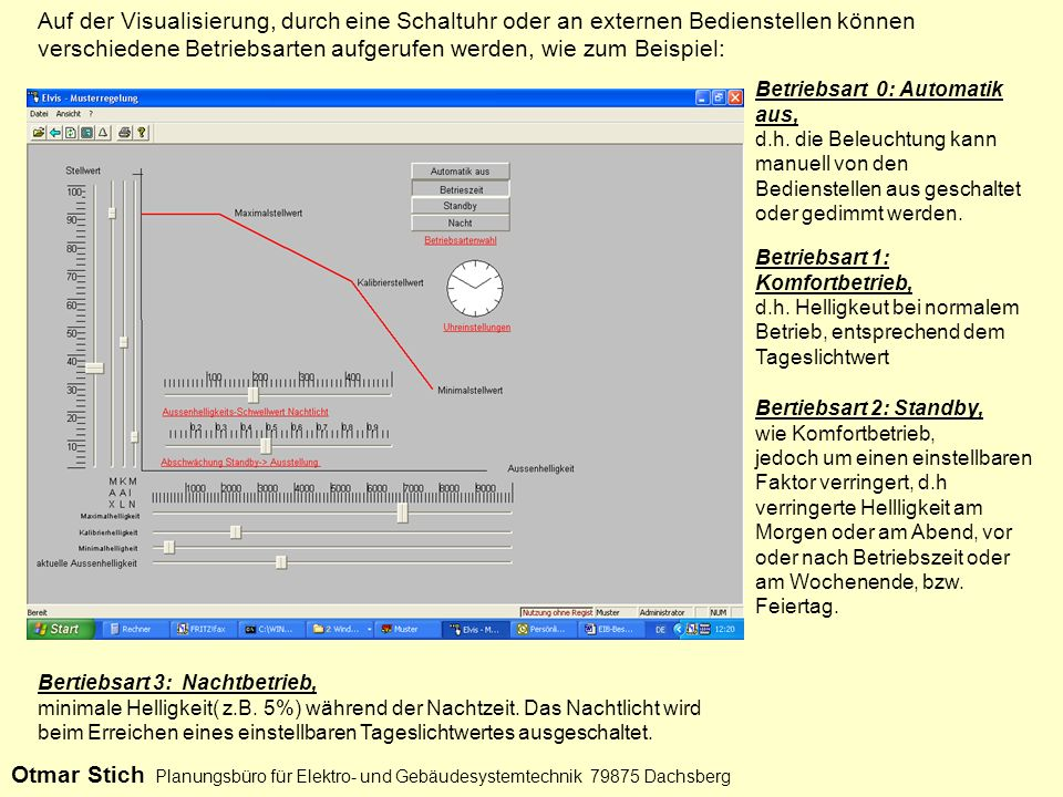 Auf der Visualisierung, durch eine Schaltuhr oder an externen Bedienstellen können verschiedene Betriebsarten aufgerufen werden, wie zum Beispiel: Bet