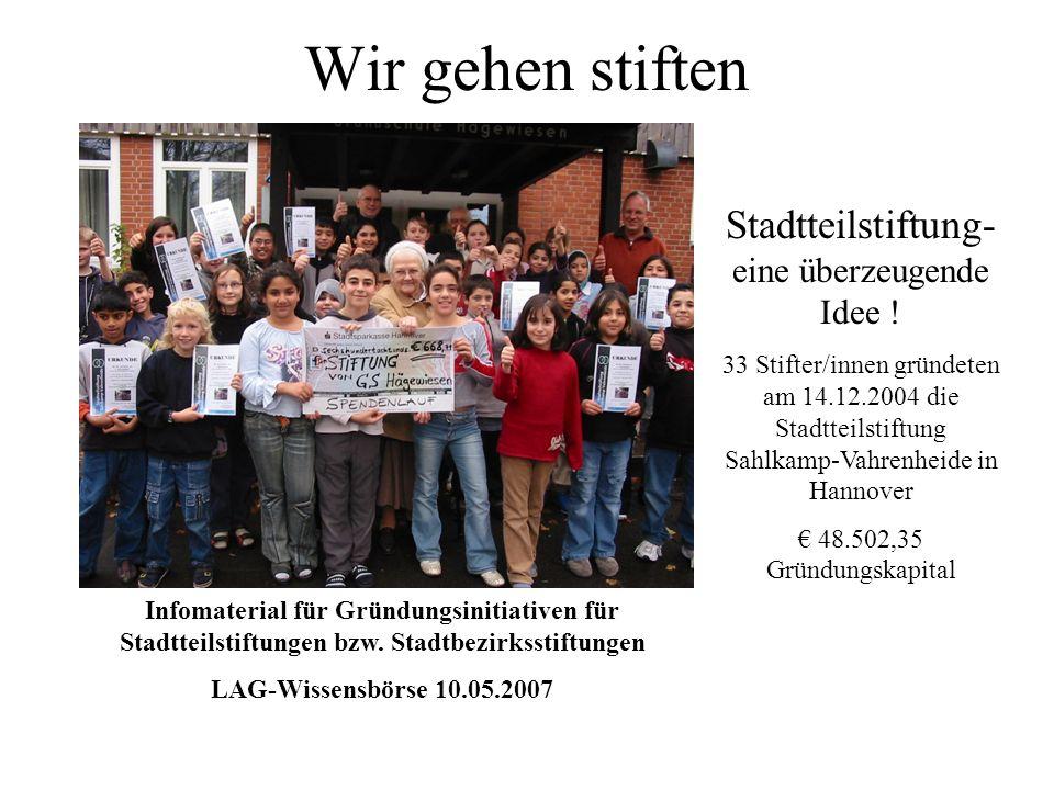 Wir gehen stiften Stadtteilstiftung- eine überzeugende Idee ! 33 Stifter/innen gründeten am 14.12.2004 die Stadtteilstiftung Sahlkamp-Vahrenheide in H