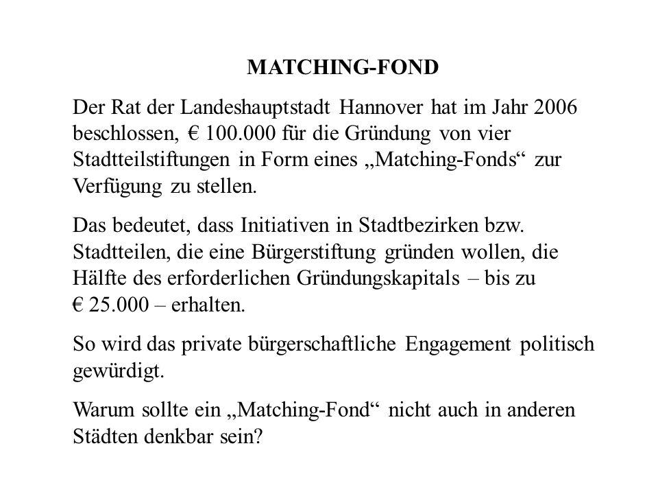 MATCHING-FOND Der Rat der Landeshauptstadt Hannover hat im Jahr 2006 beschlossen, 100.000 für die Gründung von vier Stadtteilstiftungen in Form eines