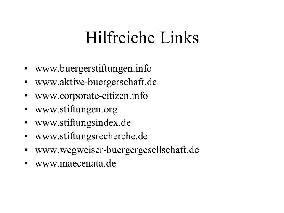 Hilfreiche Links www.buergerstiftungen.info www.aktive-buergerschaft.de www.corporate-citizen.info www.stiftungen.org www.stiftungsindex.de www.stiftu