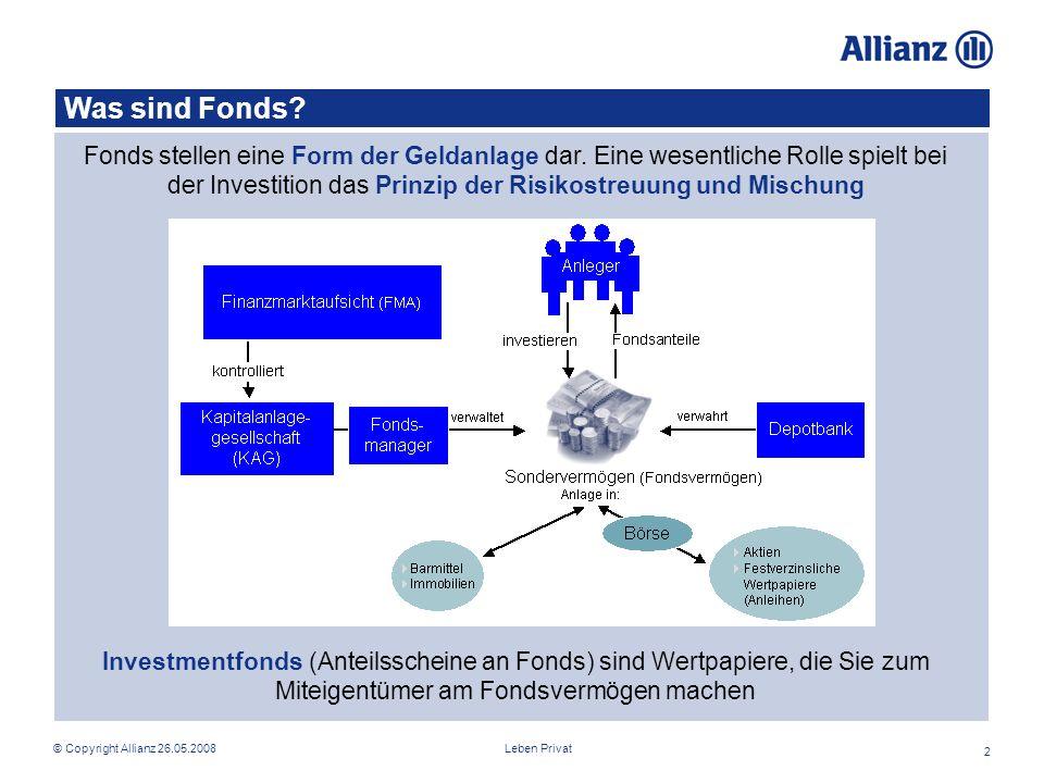 Leben Privat© Copyright Allianz 26.05.2008 2 Was sind Fonds.