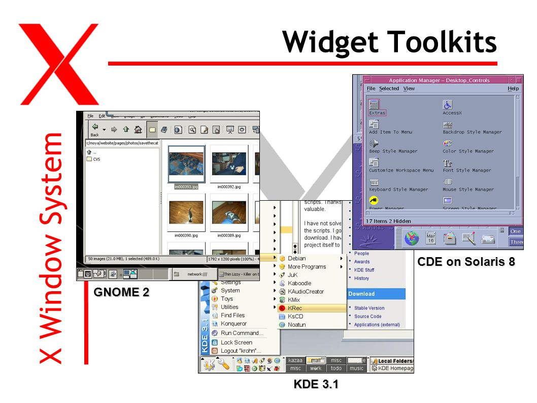 X Window System Widget Toolkits KDE 3.1 CDE on Solaris 8 GNOME 2