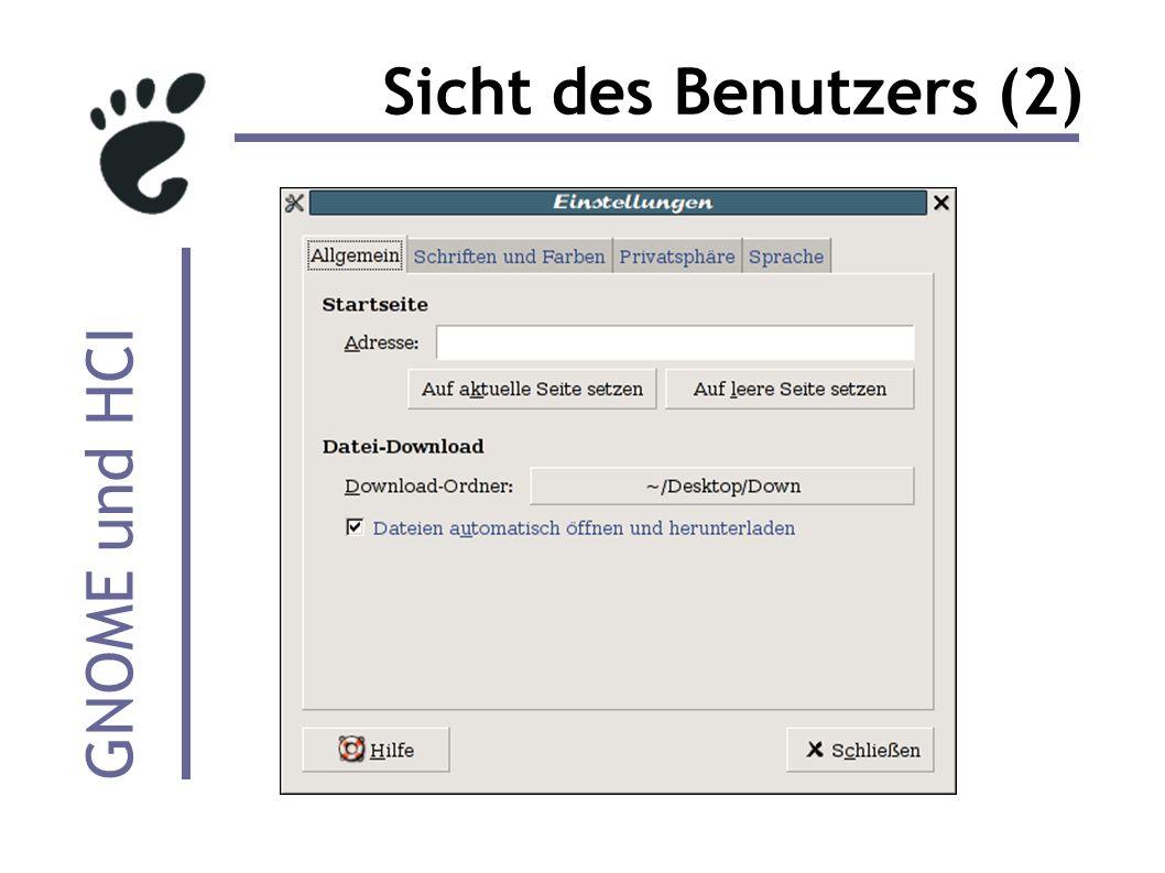 GNOME und HCI Sicht des Benutzers (2)