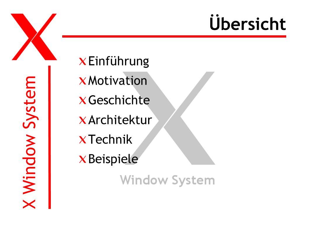X Window System Übersicht Einführung Motivation Geschichte Architektur Technik Beispiele