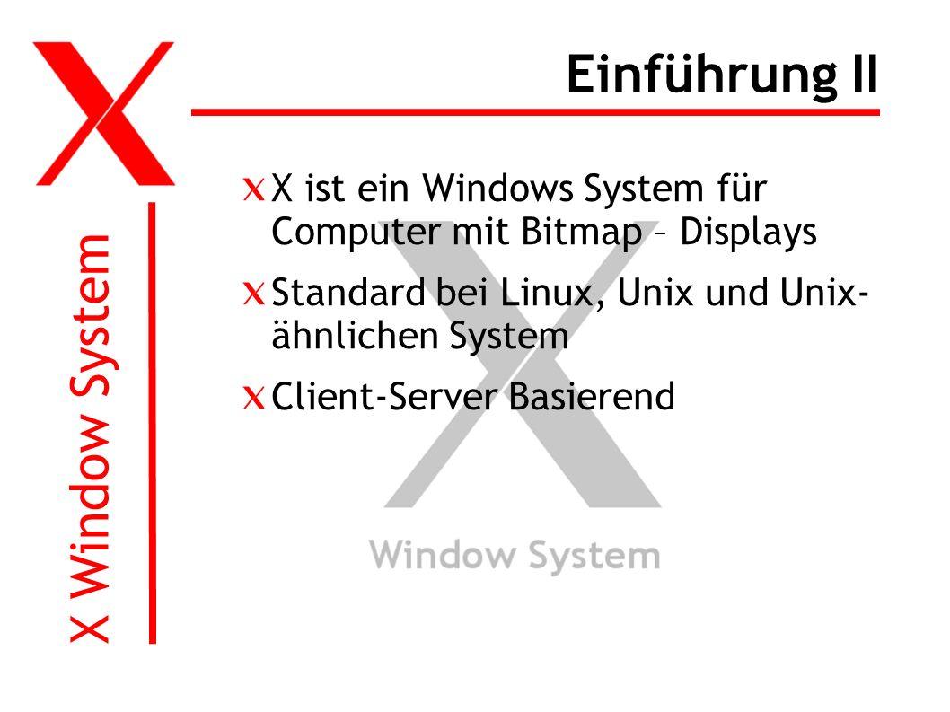 X Window System Einführung II X ist ein Windows System für Computer mit Bitmap – Displays Standard bei Linux, Unix und Unix- ähnlichen System Client-Server Basierend