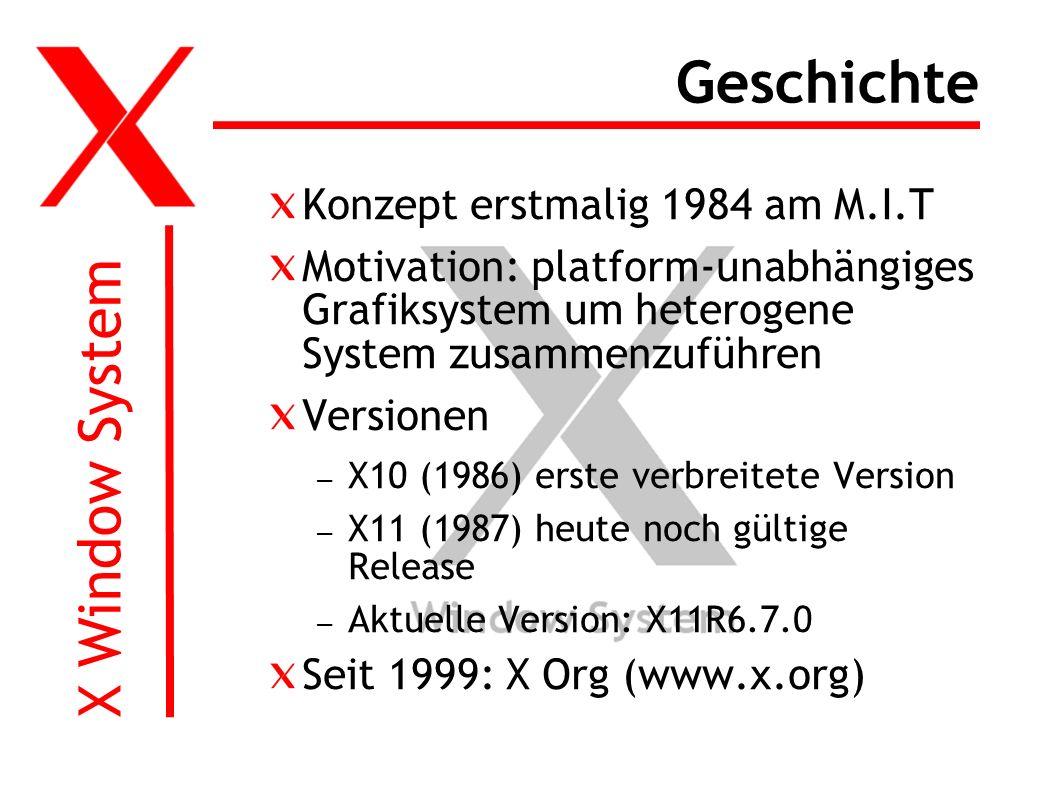X Window System Geschichte Konzept erstmalig 1984 am M.I.T Motivation: platform-unabhängiges Grafiksystem um heterogene System zusammenzuführen Versionen – X10 (1986) erste verbreitete Version – X11 (1987) heute noch gültige Release – Aktuelle Version: X11R6.7.0 Seit 1999: X Org (www.x.org)