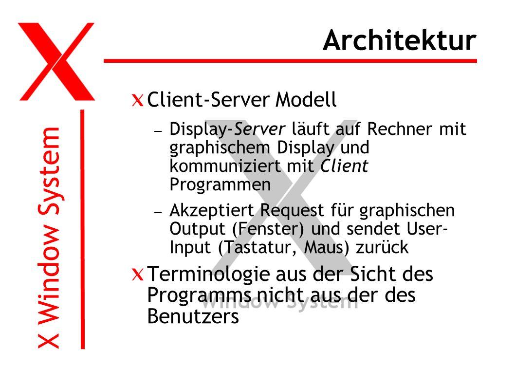 X Window System Architektur Client-Server Modell – Display-Server läuft auf Rechner mit graphischem Display und kommuniziert mit Client Programmen – Akzeptiert Request für graphischen Output (Fenster) und sendet User- Input (Tastatur, Maus) zurück Terminologie aus der Sicht des Programms nicht aus der des Benutzers