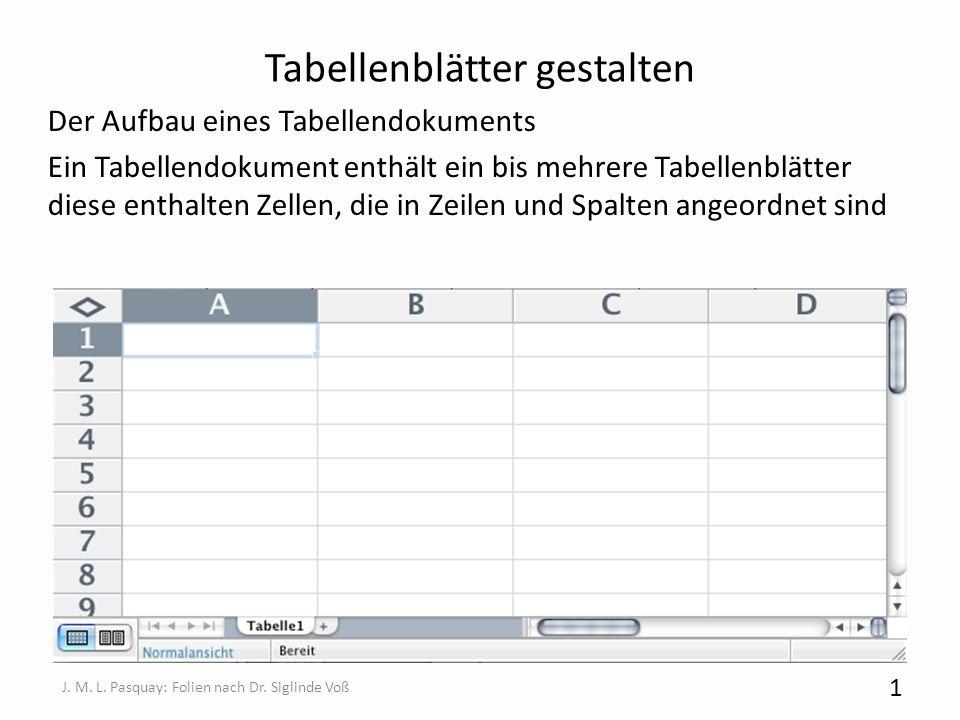 Tabellenblätter gestalten Der Aufbau eines Tabellendokuments Ein Tabellendokument enthält ein bis mehrere Tabellenblätter diese enthalten Zellen, die
