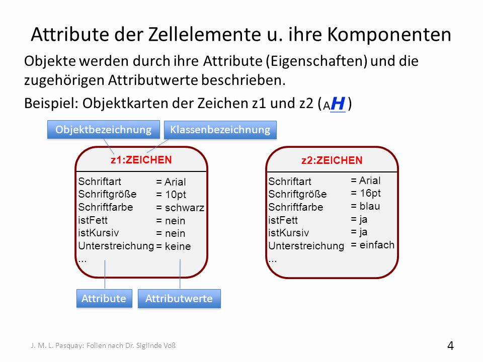 Attribute der Zellelemente u. ihre Komponenten Objekte werden durch ihre Attribute (Eigenschaften) und die zugehörigen Attributwerte beschrieben. Beis