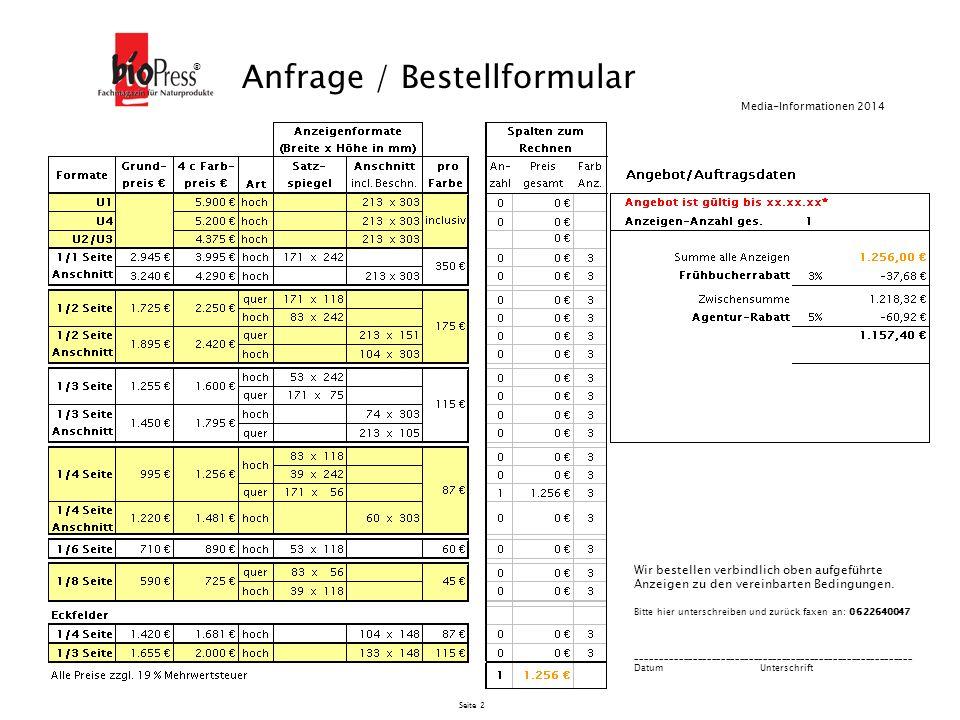 Seite 3 Allgemeine Geschäftsbedingungen für Anzeigen oder andere Werbemittel im bioPress Magazin des bioPress-Verlags, Marita Sentz e.K.