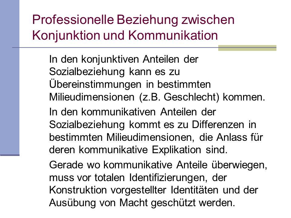 Professionelle Beziehung zwischen Konjunktion und Kommunikation In den konjunktiven Anteilen der Sozialbeziehung kann es zu Übereinstimmungen in bestimmten Milieudimensionen (z.B.
