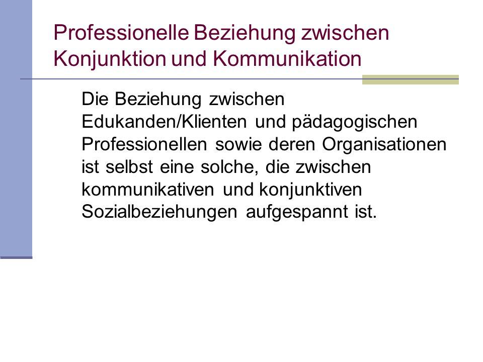 Professionelle Beziehung zwischen Konjunktion und Kommunikation Die Beziehung zwischen Edukanden/Klienten und pädagogischen Professionellen sowie deren Organisationen ist selbst eine solche, die zwischen kommunikativen und konjunktiven Sozialbeziehungen aufgespannt ist.