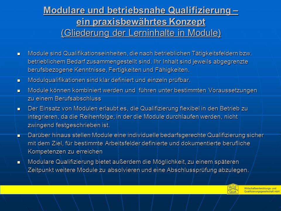 Modulare und betriebsnahe Qualifizierung – ein praxisbewährtes Konzept (Gliederung der Lerninhalte in Module) Module sind Qualifikationseinheiten, die nach betrieblichen Tätigkeitsfeldern bzw.