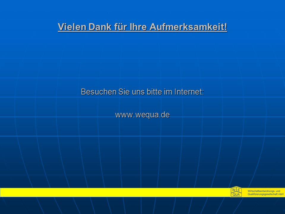 Vielen Dank für Ihre Aufmerksamkeit! Besuchen Sie uns bitte im Internet: www.wequa.de