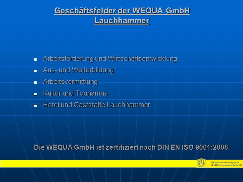 Geschäftsfelder der WEQUA GmbH Lauchhammer Arbeitsförderung und Wirtschaftsentwicklung Arbeitsförderung und Wirtschaftsentwicklung Aus- und Weiterbildung Aus- und Weiterbildung Arbeitsvermittlung Arbeitsvermittlung Kultur und Tourismus Kultur und Tourismus Hotel und Gaststätte Lauchhammer Hotel und Gaststätte Lauchhammer Die WEQUA GmbH ist zertifiziert nach DIN EN ISO 9001:2008