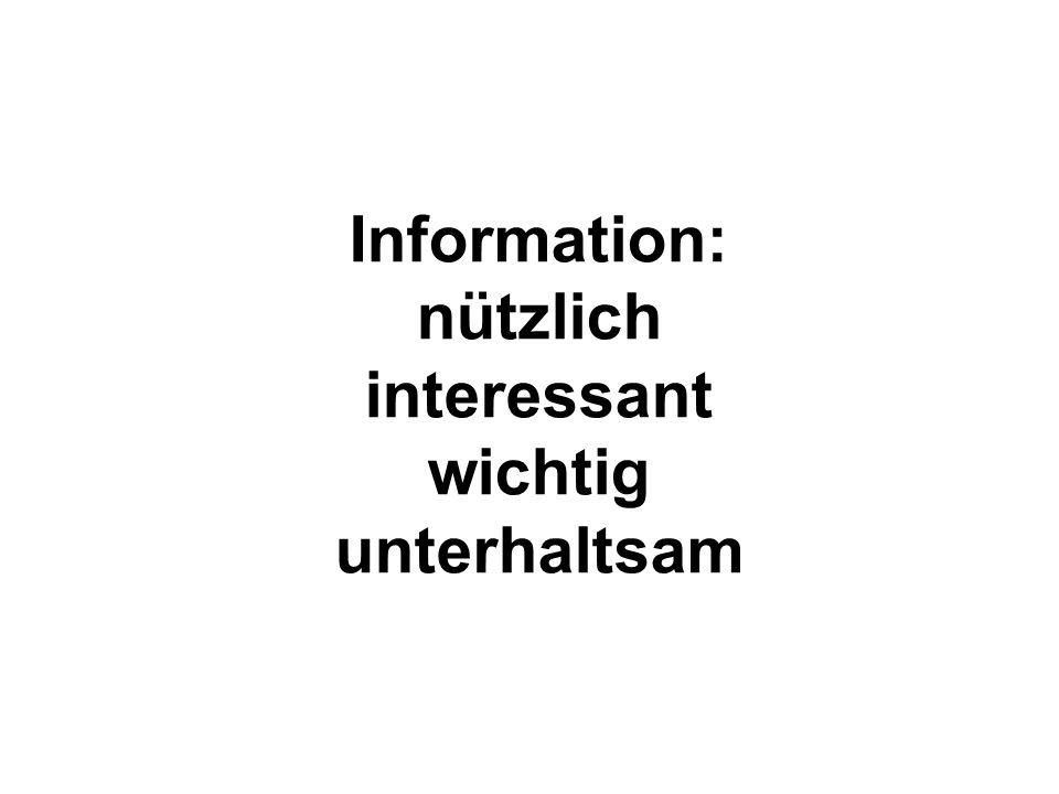 Information: nützlich interessant wichtig unterhaltsam