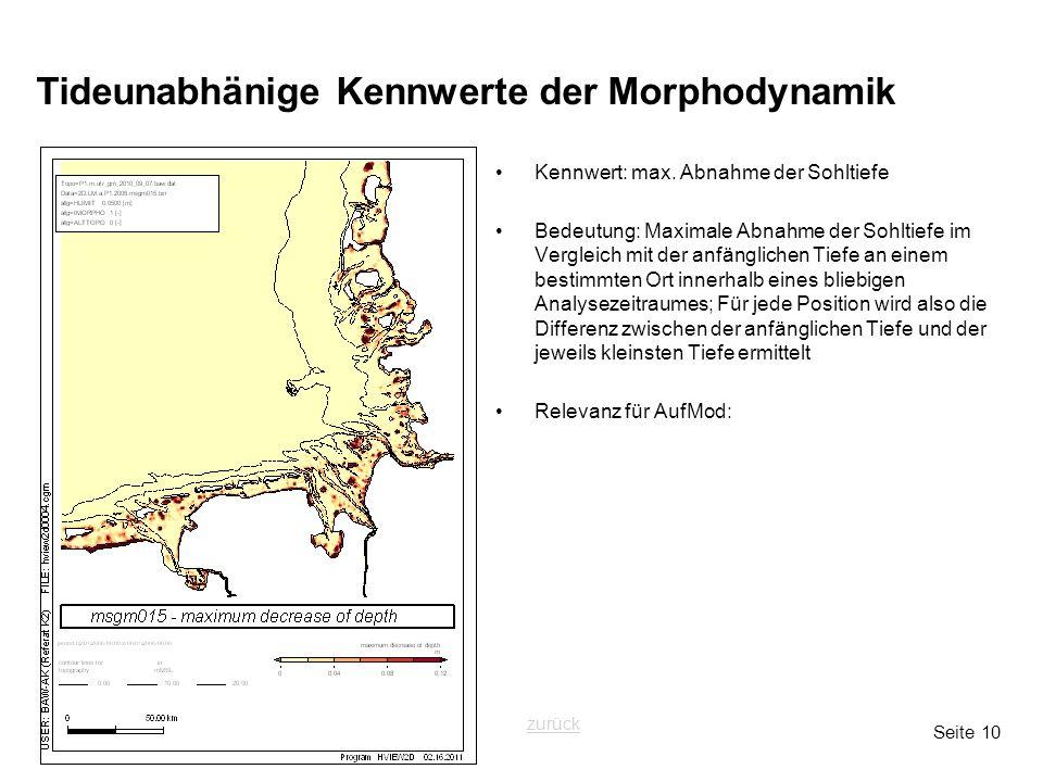Seite 10 Tideunabhänige Kennwerte der Morphodynamik Kennwert: max. Abnahme der Sohltiefe Bedeutung: Maximale Abnahme der Sohltiefe im Vergleich mit de