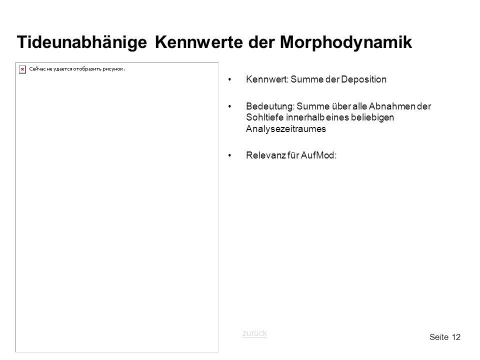 Seite 12 Tideunabhänige Kennwerte der Morphodynamik Kennwert: Summe der Deposition Bedeutung: Summe über alle Abnahmen der Sohltiefe innerhalb eines b